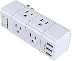 Surge Protector Wall Mount , Outlet Splitter with Rotating Plug, POWERIVER Power Strip with 6 Outlet Extender (3 Side)...