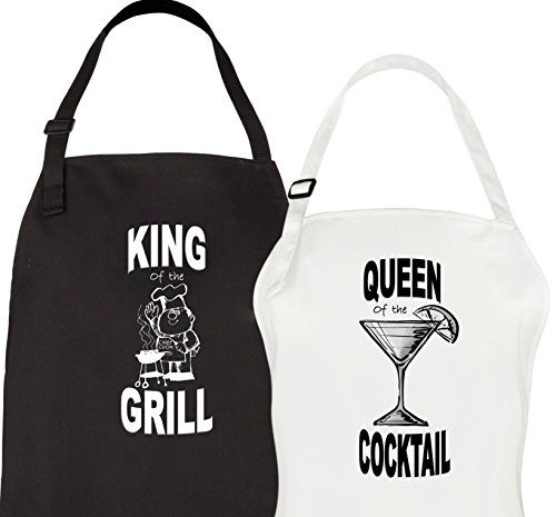 Let the Fun Begin Couples Aprons - King of the Grill Queen of the Cocktail Apron Set - His Hers Engagement, Anniversary or Bridal Shower Gift (King Grill Apron)