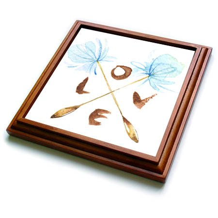 3dRose trv_267775_1 Pretty Watercolor Blue Dandelion Flowers with Love Design Trivet with Tile, 8 by 8'' by 3dRose