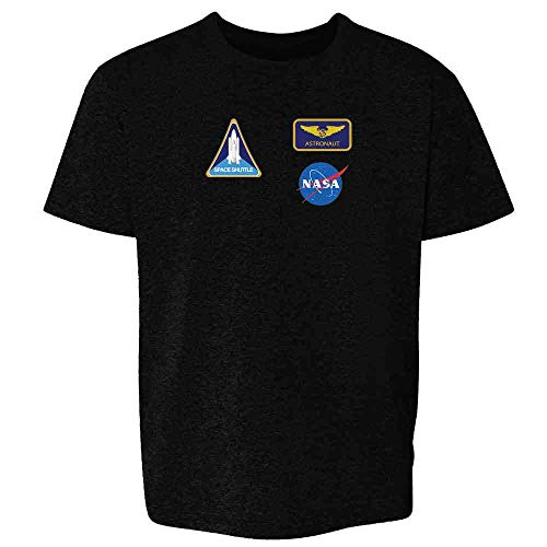 Pop Threads NASA Approved Astronaut Uniform Patches Costume Black XL Youth Kids T-Shirt -