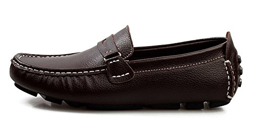 Round Moccasin ons Loafers Toe Penny Slip Trendy Boat Shoes Men's Aisun Driving Flats Gommino Comfortable Brown xPYwpYRn