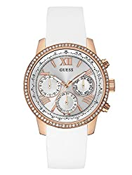 Guess Women's U0616l1 Sporty Rose Gold-tone Stainless Steel Watch With Multi-function Dial & White Strap Buckle