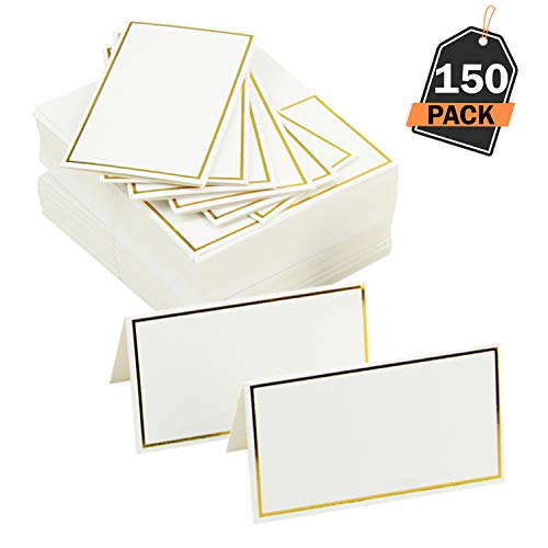 Scale Rank 150 Piece Place Cards Set, Name Placement Cards, Table Placeholder, Pre-Folded Tent Cards, Perfect for Weddings, Parties and Events, Platter Labeling, Product Labels -