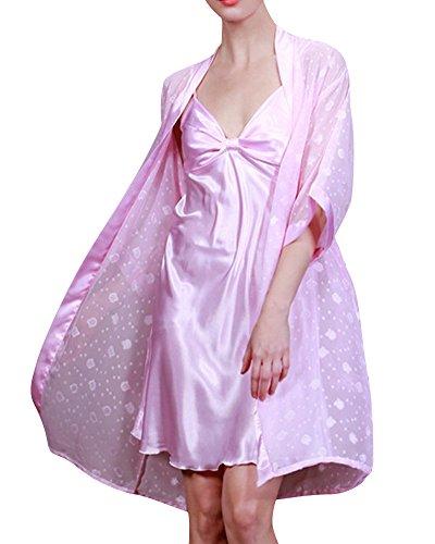 Mujer Corto Manga Pijama Sleepwear Satín Conjuntos Vestido Camisón De Dos Piezas Light Pink