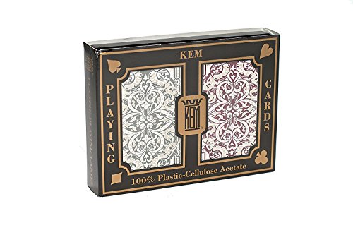 Kem Jacquard Playing Cards: Green/Burg (Poker - Wide)(Jumbo 2-Pack of 2) by Kem Playing Cards