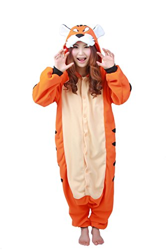 [Unisex Animal Cosplay Tiger Jumpsuit Pajama Costumes Onesie XL] (Plus Size Tiger Costumes)