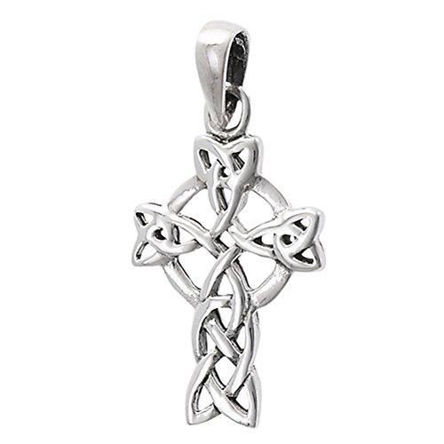 Celtic Cross Pendant .925 Sterling Silver Circle Viking