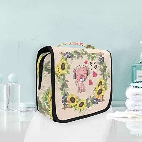 花ピンクの猫ハンギング折りたたみトイレタリー化粧品袋メイク旅行オーガナイザーバッグケース用女性女の子浴室