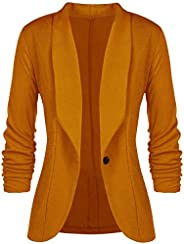 Aceshion Women 3/4 Sleeve Blazer Open Front Cardigan Jacket Work Office Blazer