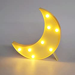DELICORE Decorative LED Crescent Moon Marquee Sign - MOON Marquee Letters LED Lights - Nursery Night Lamp GIFT for Children (Yellow)