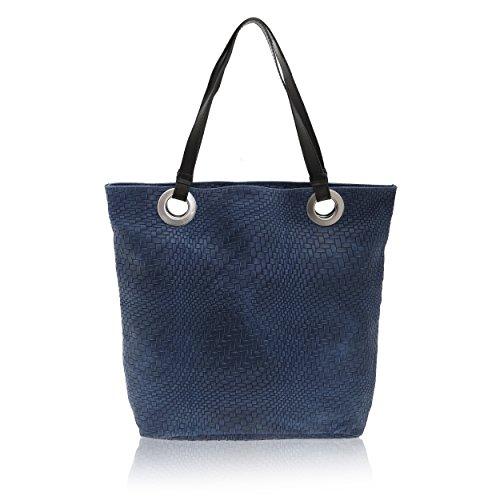 Italy Bolsa Azul Cm Genuino X In De Cuero 10 Made 34 En Chicca Borse Hombro Mujer 40 Zwax0Cv