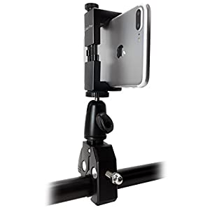 iShot Pro SecureGRIP Metal iPhone Universal Smartphone Tripod Mount Adapter + HD Metal Pipe Pole Bar Clamp Connector for Bike, Motorcycle, Boat, Golf Cart & More - Fits All Cell Phones 2.5 to 3.6 inch