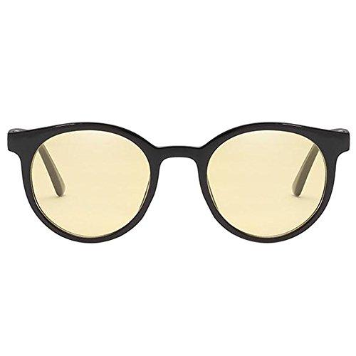 Meijunter air lunettes Polarisé Élégant plein De Classique protectrices Petite Jaune UV UV de Eyewear Noir ronde soleil Lunettes Glasses Protection Lunettes Rétro Anti rrSqPwx6