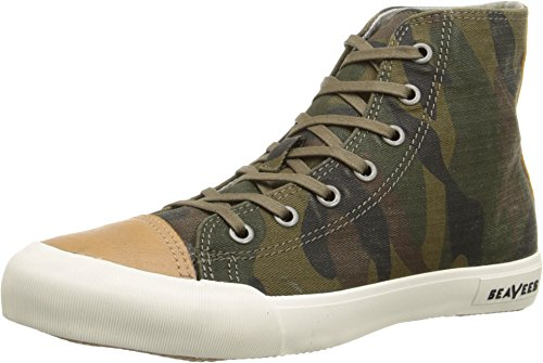 SeaVees Women's 08/61 Army Issue High Mojave Fashion Sneaker, Olive Camouflage, 8.5 M US