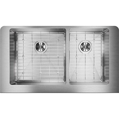 - Elkay ECTRUF32179RDBG Crosstown 60/40 Double Bowl Farmhouse Stainless Steel Sink Kit