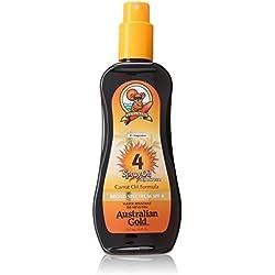 Australian Gold SPF 4 Spray Oil Sunscreen, Carrot Oil Formula, 8 Fl Oz