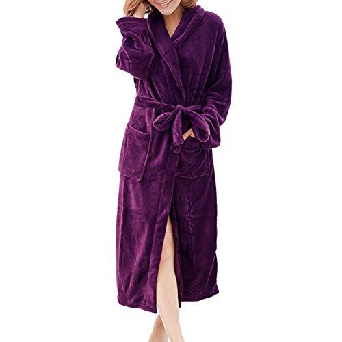 ShiyiUP Womens Mens Fleece Robe Soft Plush Bathrobe Long Warm Violet 35f16e289