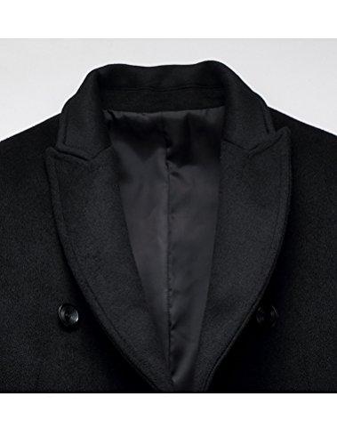 Uomo Cappotto Lana 1 Trench nero Casuali Sottile Vogstyle Cappotti Monopetto Stile Swdq4d