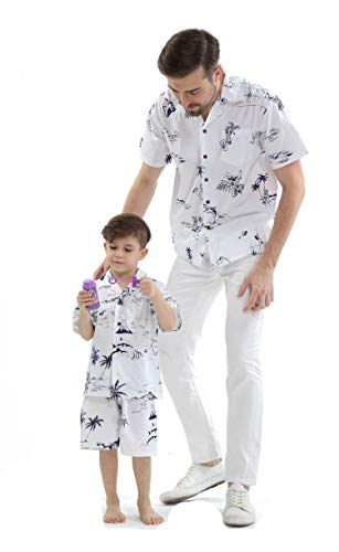 Matching Father Son Hawaiian Luau Outfit Men Shirt Boy Shirt Shorts Classic White Flamingo XL-2 -