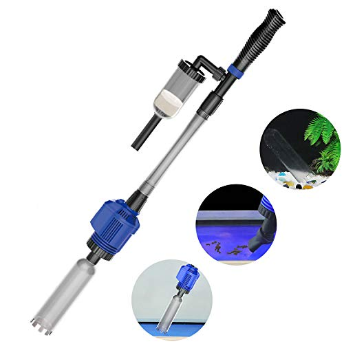 NICREW Power VAC Plus Automatic Gravel Cleaner, Electric Aquarium Cleaner with Sponge Filter, 3 in 1 Aquarium Vacuum Gravel Cleaner for Medium and Large -