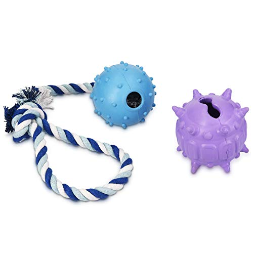 - Navaris 2-Pack Dog Toy Set - Rope Toy Set with Ball and Treat Food Dispenser Ball - Interactive Toys for Puppies and Small to Medium Sized Dogs
