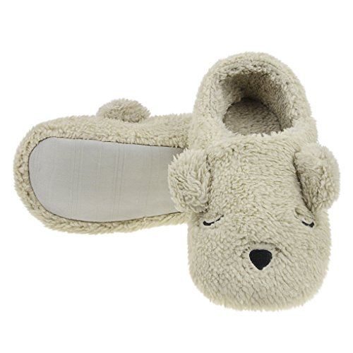 Footwear Slip Closed Women Home Shoes skid Flat Bedroom With Adult Slipper Boot Toe Footpads Indoor Warm Clog Non House Big Mules Ankle Cartoon Winter on Fluffy Soft Booties Bear For Eye 4w1TxH