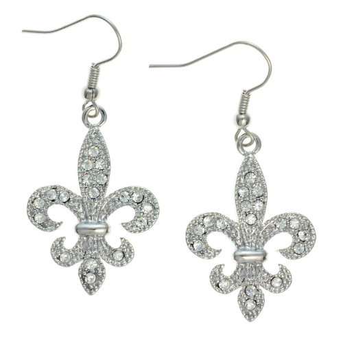 PammyJ Silvertone Clear Crystal Fleur De Lis Dangle Earrings