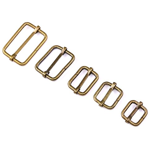 Swpeet 100 Pcs Bronze Metal Rectangle Adjuster Triglides Slides Buckle, Roller Pin Buckles Slider Strap Adjuster for Belt Bags DIY Accessories - 13mm / 15mm / 20mm / 25mm/ 35mm