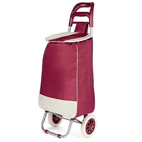 Lightweight Wheeled Shopping Trolley Bag - Heavy Duty Collapsible Rolling Cart - Maroon or Black