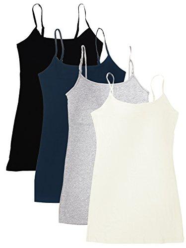 4 Pack Active Basic Women's Basic Tank Tops,Black/Navy/H Gray/Oatmeal,Medium