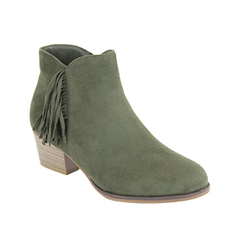 BELLA MARIE FL25 Womens Tassel Cut Out Stacked Block Heel Ankle Booties Olive Green x1I4LQi