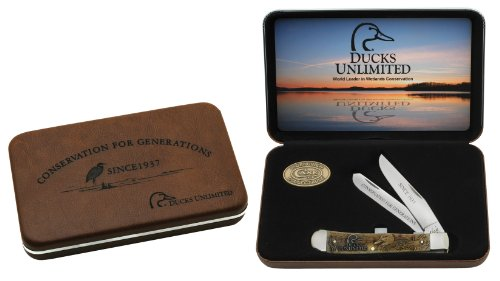Case Antique Bone Ducks Unlimited Trapper Pocket Knife