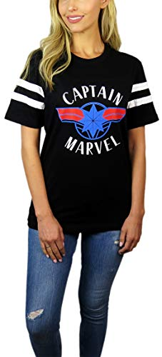 Womens Captain Marvel Varsity Football Tee (Black, Small)