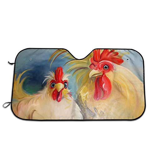 Chicken Oil Painting Durable Auto Windwhield Sun Shades for Car Auto (Sedan Truck SUV), 70130CM ()