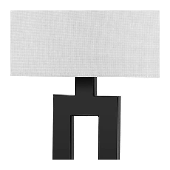 "Globe Electric 67045 D'Alessio Table Lamp, 20"", Matte Black - MODERN DESIGN: a trendy cutout body and rectangular linen shade offers a modern design that will stand the test of time WHITE LINEN SHADE: offering a bright but diffused light, a white linen shade brings a classic element to any space while allowing you to give your lamp and room a warmer or colder look depending on the bulb color temperature you choose PERFECT HEIGHT: a 20-inch height is perfect for a side table, bedside table or entryway table - lamps, bedroom-decor, bedroom - 415fzL2CEyL. SS570  -"