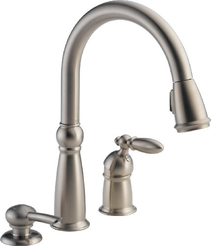 Delta 16955-SSSD-DST Victorian Single Handle Pull-Down Kitchen Faucet with Soap Dispenser, (Classic Series Soap Dispenser)