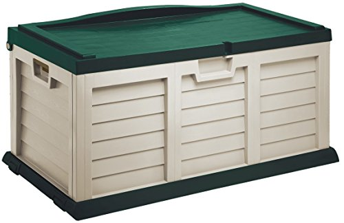 Starplast Deck Box with Sit-On Cover, 71 gallon, Beige/Green by Starplast