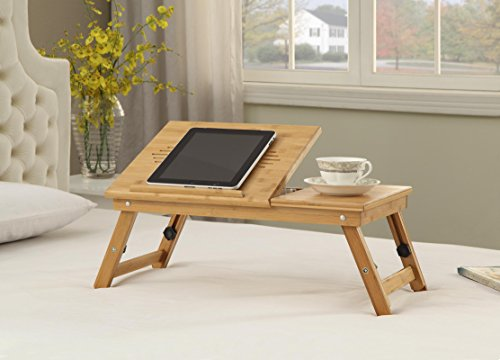 100% Natural Bamboo Wood Adjustable Height Laptop Desk with Foldable Breakfast Serving Bed Tray and Tilting Top (Table Breakfast Height)