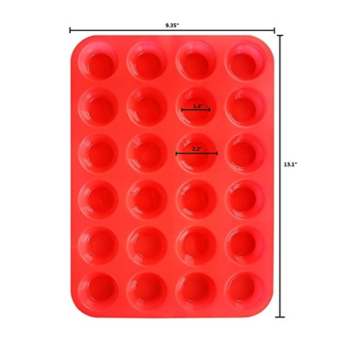 3 Pack Silicone Mini Muffin Cupcake Pan Silicone Molds, Non Stick 24 Silicone Baking Cups by Sunforest (Image #1)