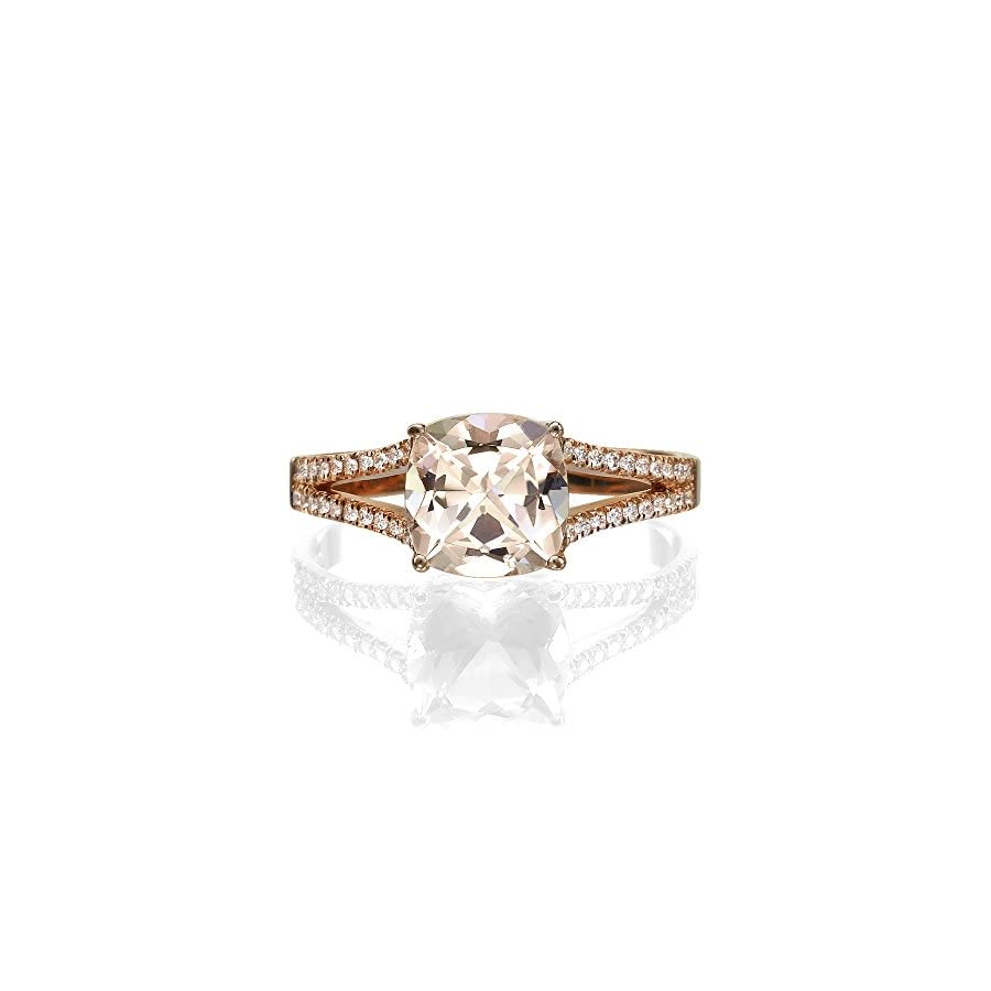 Natural peach/pink 2.20 CT VS Morganite Ring with Diamonds Rose Gold 14K Split Shank Cushion Vintage