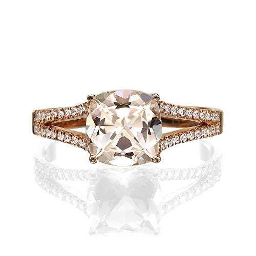 Natural peach/pink 2.20 CT VS Morganite Ring with Diamonds Rose Gold 14K Split Shank Cushion Vintage