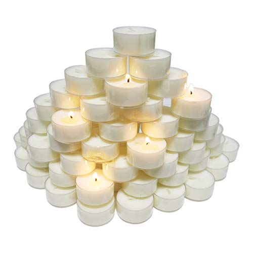 CandleNScent 5hr Soy Tea Lights Candles|100 Tealight Candles in Clear Cup - Decorations for Wedding, Birthday, Holiday Party | White Soy Wax in Cups