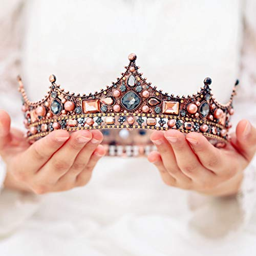 Yean Baroque Vintage Queen Crown Wedding Crowns and Tiaras Rhinestone Gold Crown for Women and Girls -