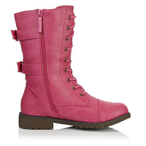 DailyShoes Damen Militär Ankle Lace Up Schnalle Kampfstiefel Mitte Kniehohe Exklusive Kreditkarten-Booties Rosa Herzen