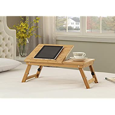 100% Natural Bamboo Wood Adjustable Height Laptop Desk with Foldable Breakfast Serving Bed Tray and Tilting Top
