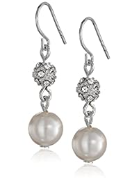 Cream 8mm Simulated Pearl and Pave Fireball Drop Earrings
