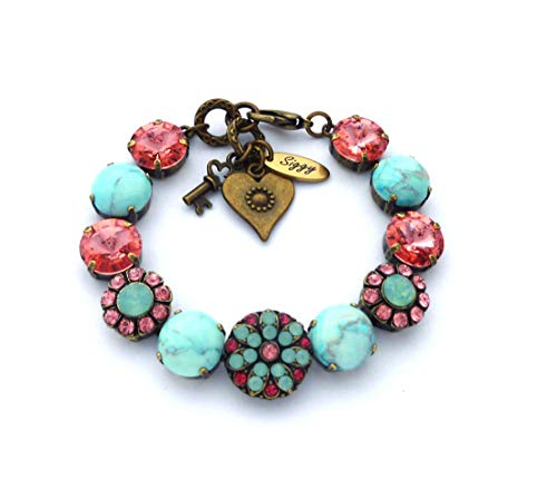 Swarovski® Crystal and Turquoise Bracelet With Flower Embellishments, COZUMEL