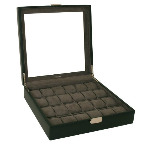 Watch Box XL Single Level Leather 24 Large Compartments High Clearance Glass Window (Black) by Tech Swiss