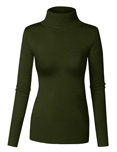 Womens Long Sleeve Turtleneck Sweater - 1