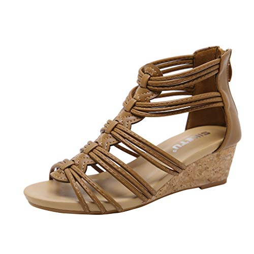 Romane Vovotrade Sandali Per Piatta Di Posteriore scarpa Le Con Vintage Cerniera Donna Donne Aperte Ritaglio Moda Pantofole Marrone Zeppa qSYFq5